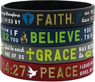 Ezekiel Gift Co. Faith, Believe, Peace, Grace Silicone Bible Bracelets - Christian Religious Jewelry Gifts for Men Women