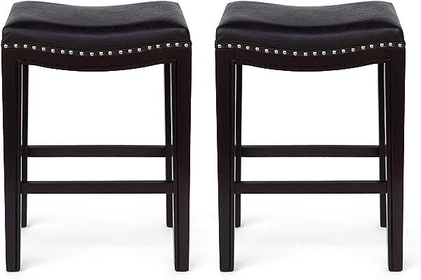 大量家具艾米当代镶嵌织物柜台凳子一套 2 黑色深棕色和银色