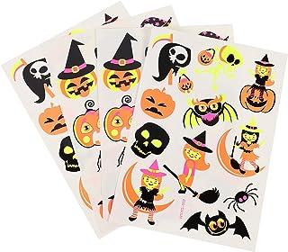 Beaupretty 4 Vellen Halloween Gezicht Stickers Fluorescerende Kids Gezicht Decals Pompoen Decals Party Decoraties Hallowee...