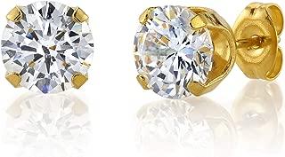 Sensitive Stud Earrings 6mm Cubic-Zirconia in a Tiffany Setting