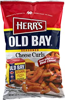 Herr's Old Bay Seasoned Cheese Curls 7.5 Ounce Bag (4 Bags) - Made With a Traditional Old Bay Recipe - Delicious Seasoning - Oven Baked