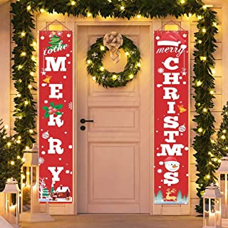 Christmas Porch Sign, HOME-MART Merry Christmas Decoration Banner,Home Outdoor Porch Sign for Xmas Holiday Front Door Wall...