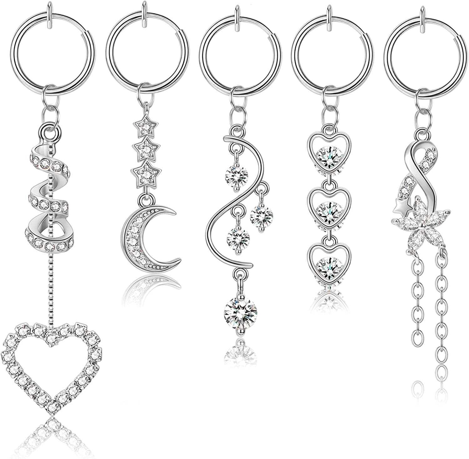 YOVORO 5Pcs Stainless Steel Fake Belly Rings for Women Girls Clip on Belly Button Rings Non Piercing Faux Navel Rings