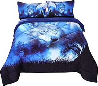 Wowelife Wolf Comforter Sets Queen 5 Piece Wolf Bedding Set Blue with Comforter, Flat Sheet, Fitted Sheet and 2 Pillow Cases(Queen-5 Piece)
