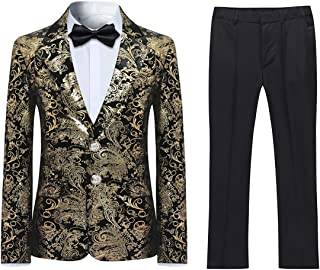 Boyland Boys Tuexdo Suit Formal Golden Jacquard Jacket Pants Black Suit Set