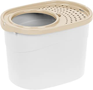 IRIS Top Entry Cat Litter Box, White/Beige