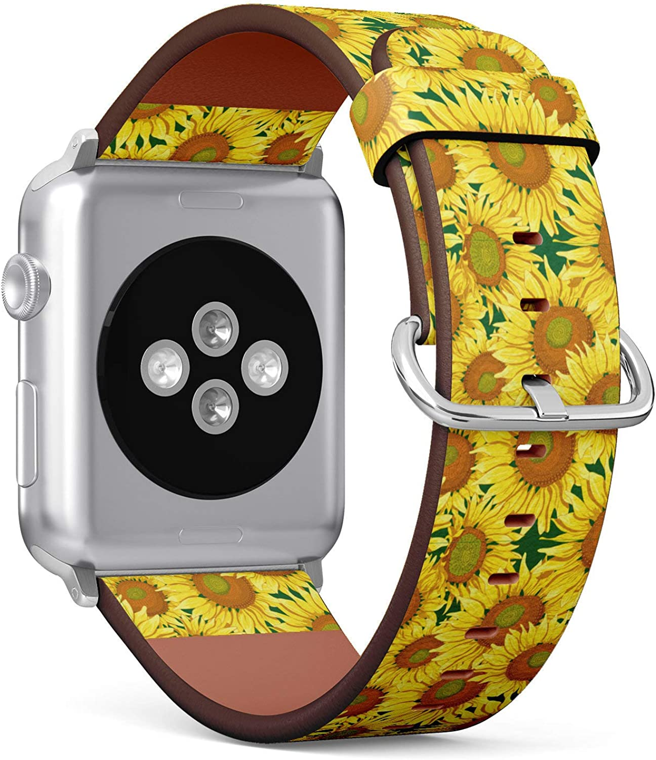(Oil Painting Sunflower Pattern) Patterned Leather Wristband Strap for Apple Watch Series 4/3/2/1 gen,Replacement for iWatch 38mm / 40mm Bands