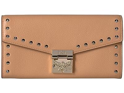 MCM Patricia Studded Outline Park Avenue Flap Wallet/Two-Fold Large (Biscuit) Handbags