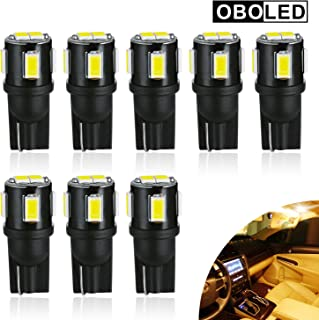 OBOLED 194 LED Bulbs T10 W5W 168 2825 Wedge 6SMD Replacement Bulbs Car Interior Lights Dome Map Door Trunk Courtesy License Plate Light 6500K Xenon White 8PCS