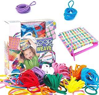 yeesport Girls Loom Potholder Kit Creative Knitting Kit Weaving Loom Craft Weaving Craft Loop Square Crochet Loom with Cro...