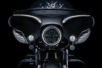Kuryakyn 5029 Motorcycle Lighting: Fairing Mounted H3 Halogen Lamp Driving Lights with Turn Signal/Blinker Light for 1997-2019 Harley-Davidson Motorcycles, Gloss Black, 1 Pair