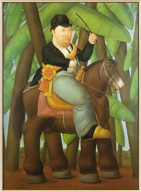 XUSANSHI Cuadros Decorativos Hombre montado a Caballo por Fernando Botero Pinturas de Arte Famosas Bailarina Canvas Art Posters and Prints 60x90cm