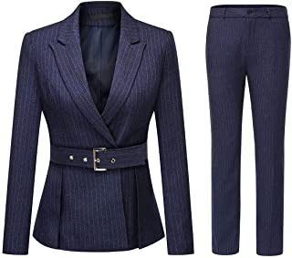 Women's 2 Piece Office Lady Stripes Business Suit Set Slim Fit Blazer Jacket Pant