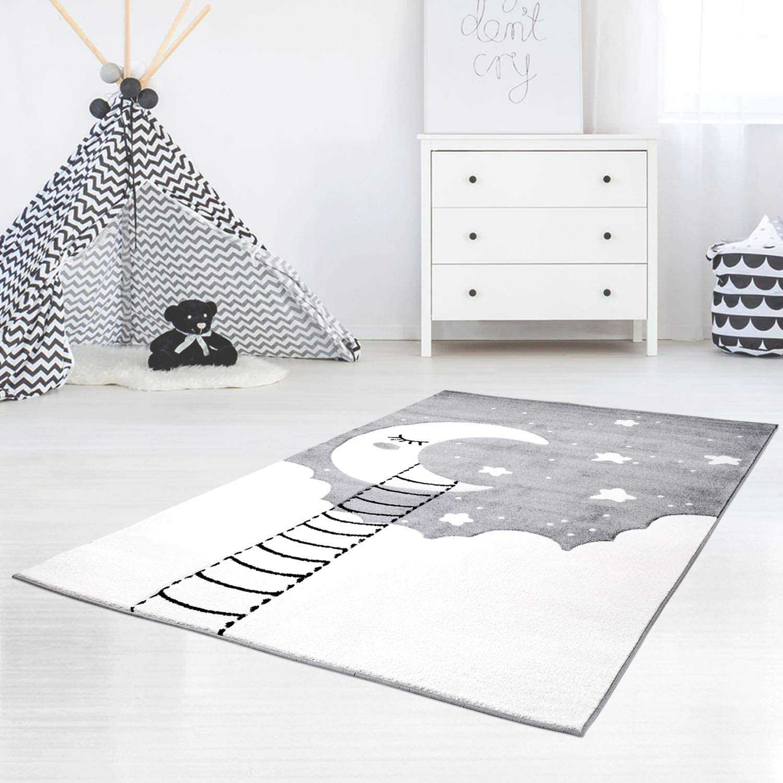 Kinderteppich Hochwertig Konturenschnitt Glanzgarn mit Mond, Wolken und Sternen in Grau Gre 160 230 cm