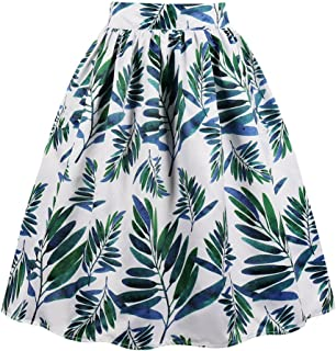 6b7764656e EUDOLAH Femme Jupe Taille Haute années 50 Vintage Mi Longue Chic Rétro Midi  Jupe Plissée