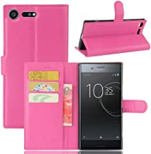 Leather Wallet Flip Case for Sony Xperia Xz1 Compact - Pink