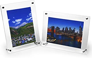 HESIN 2 Pack of 6 x9 Acrylic Picture Frame Wall Mounted Sign Holder Tabletop Poster Certificate Signs Holder Artwork Art Print Display Stand Suit for A5 Paper,6