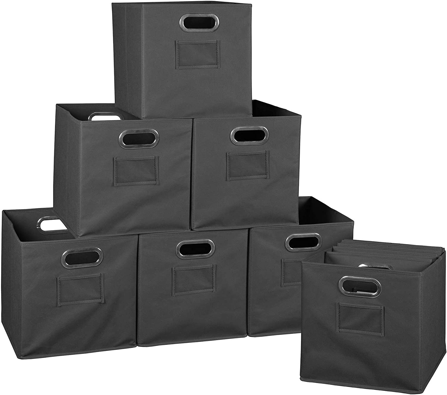 Unknown1 Connect Set of 12 Challenge the lowest price Foldable Storage Grey Mo depot Fabric Bins-