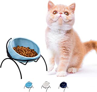 Jemirry Elevated Cat Bowl Ceramic Cat Food Water Bowl with Stand Titl Angel for Kitty and Small Dog Feeder Neck Protection