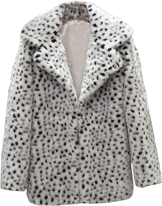 Women Fleece Leopard Coat Long Sleeve Open Front Long Cardigan F