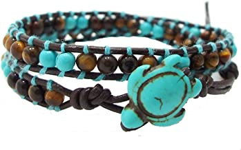 AeraVida Ocean Sea Turtle Simulated Turquoise and Tiger's Eye Double Wrap Leather Bracelet