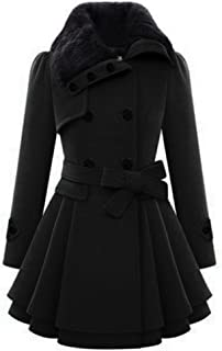Women's Fashion Faux Fur Lapel Double-Breasted Thick Wool Trench Coat Jacket