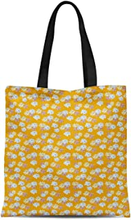 S4Sassy Green Daisies Floral Printed Canvas Large Tote Bag for Beach Shopping Groceries Books 16x12 Inches