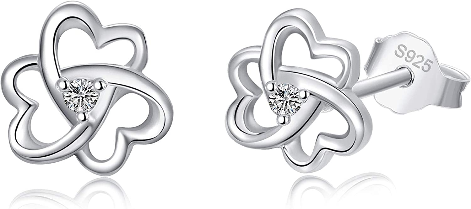 Anchor Heart Flower Stud Earrings Sterling Women 925 Save money for Silver Don't miss the campaign