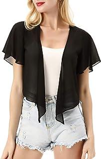 Women Short Sleeve Sheer Chiffon Shrug Tie Front Bolero Cardigan