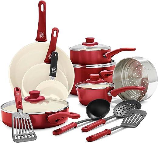 GreenLife CC001020-002 Soft Grip 16pc Ceramic Non-Stick Cookware Set, Red