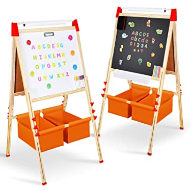 Magicfun Kids Art Easel, Wooden Double Sided Black White Painting Board, Height Adjustable Magnetic Board with Complete Accessories Chalks for Gifts Toddlers 2-7 Year Old