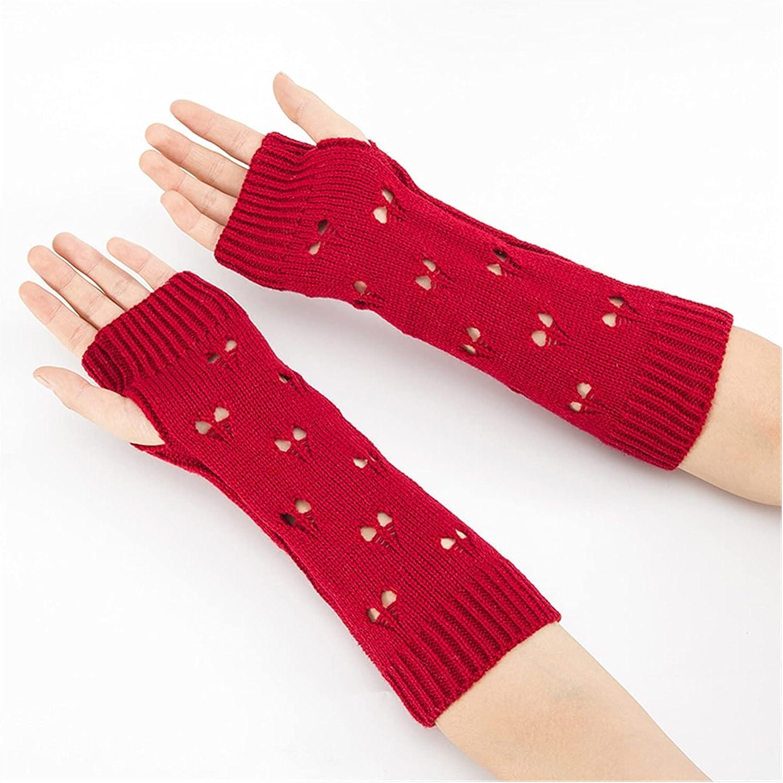 CHHNGPON Ladies Gloves Women Gloves Stylish Hand Warmer Winter Gloves Women Arm Crochet Knitting Hollow Heart Mitten Warm Fingerless Gloves (Color : Red, Gloves Size : One Size)