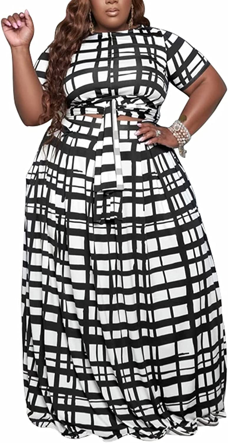 Women's Plus Size 2 Piece Outfits Short Sleeve Tie Up Wrap Empire Crop Top and Skirt Sets Maxi Dress Clubwear