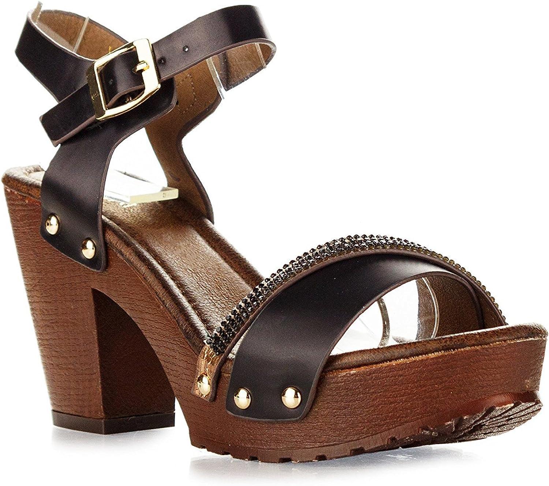 Nature Breeze Women's Vint-02 Buckle Comfort Medium Chunky Wooden Heel Sandal