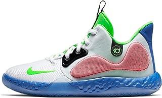 Nike Boys KD Trey 5 VII Basketball Sneakers (5.5, White/Lime Blast-Hyper RO)
