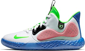 Nike Boys KD Trey 5 VII Basketball Sneakers (6, White/Lime Blast-Hyper RO)