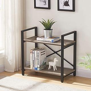BON AUGURE Small Bookshelf, 2-TierIndustrial Low Bookcase, RusticDisplay Shelf for Living Room Bedroom(Dark Gray Oak)