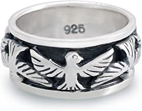 Chuvora 925 Oxidized Sterling Silver Eagle Thunderbird Bird Native Indian Band Ring - Nickel Free