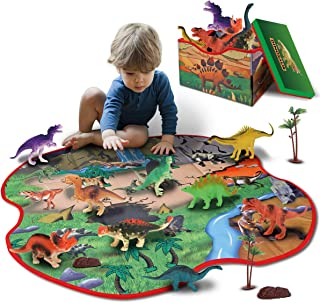 GILOBABY 2 in 1 Dinosaur Toy Storage Box & Activity Playmat with 10 Dinosaurs, 2 Trees and 2 Rocks, Educational Realistic ...