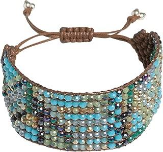 Handmade Crystal Boho Beaded Statement Wrap Cuff Bracelet with Slider Opening