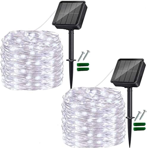 Outdoor Solar String Lights, 2 Pack 33FT 100LED Solar Powered Fairy Lights Cool White,Waterproof 8 Modes Solar Copper...