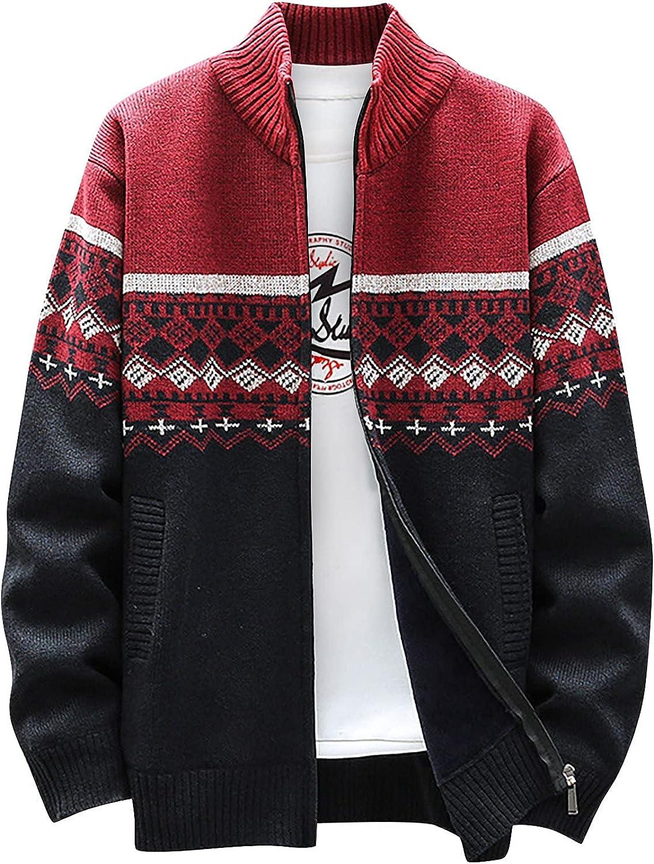 Sweater Jackets Men Fleece Lined Coat Casual Full Zip Outwear Boho Vintage Jacket Warm Supersoft Outerwear Stand Collar