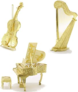 3D Metal Puzzle Models Of Violin, Harp and Piano - DIY Toy Metal Sheets Assembling Puzzle, 3D puzzle – 3 Pack