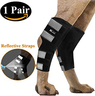 NewBeau Pet Dog Rear Leg Brace, Canine Hock Brace with Safety Reflective Straps for Injury and Sprain Protection, Supportive Dog Rear Compression Leg Joint Wrap (1 Pair)
