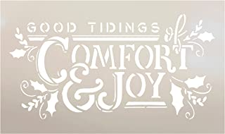 Good Tidings of Comfort and Joy Stencil by StudioR12 | Christmas & Holiday | for Painting Signs | Word Art Reusable | Family Room | Chalk Mixed Multi-Media | DIY Home - Choose Size (15