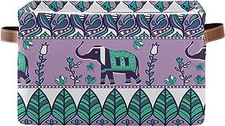 QMIN Panier de rangement Tribal Bohème éléphant Fleur d'oiseau Boîte de rangement Pliable Cubes Organisateur de Jouets Pan...