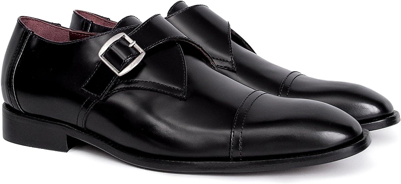 Roque Vicente Mans Designer läder Monk Strap Strap Strap skor s svart Formal Round Cap Toe skor  skydd efter försäljning