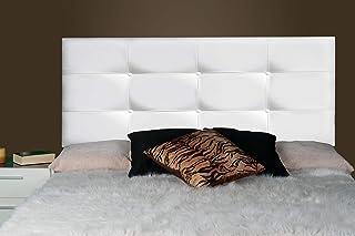 ONEK-DECCO Cabecero Tennessee con Botones, tapizado en Polipiel de Dormitorio Medidas cabecero de Cama niño, Juvenil y Matrimonio Cabezal Blanco, Acolchado (105x70, Blanco)