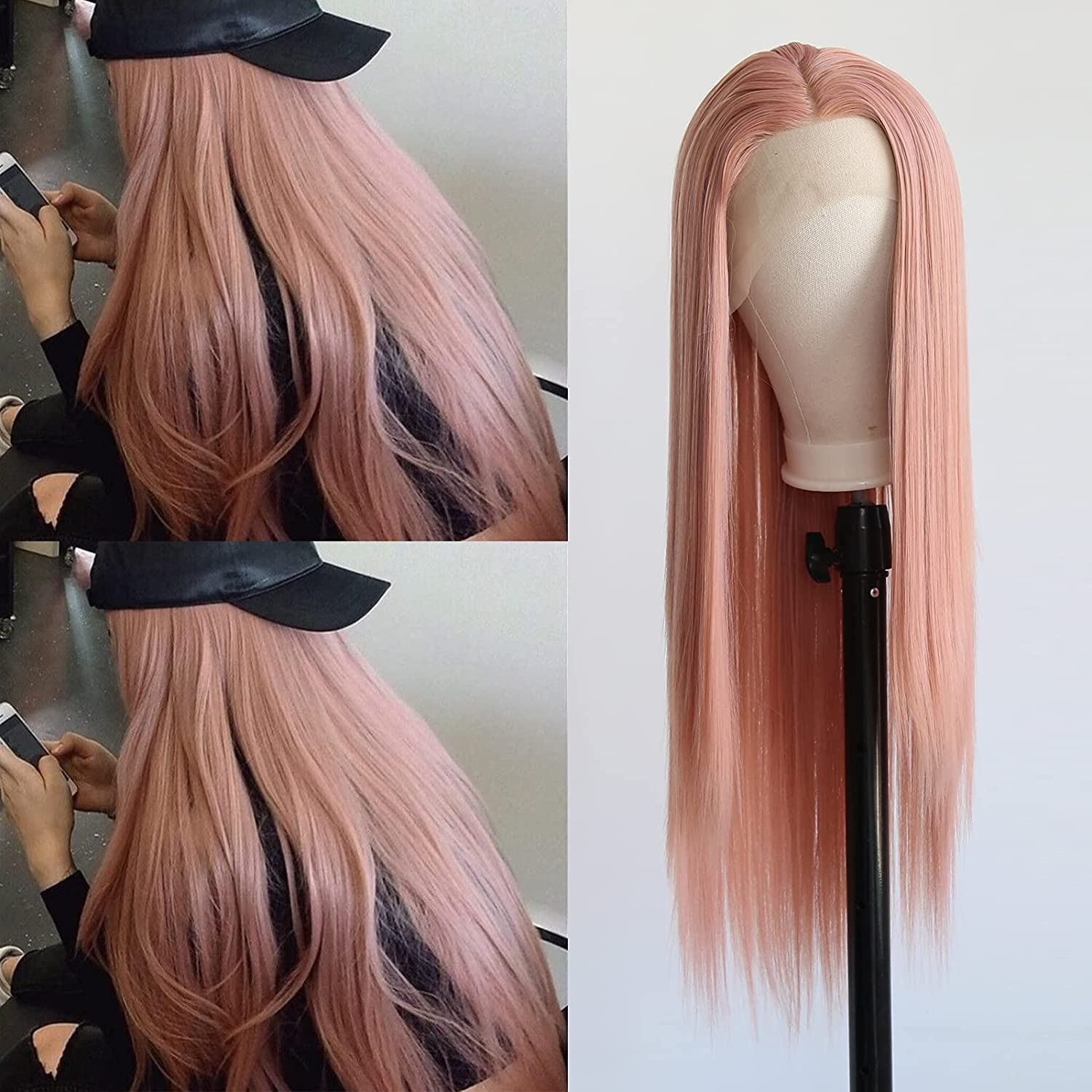 Towarm Rose Golden Wig Max 42% OFF Philadelphia Mall Synthetic Front Black Lace Women for