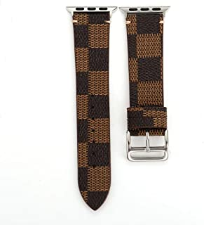 for Apple Watch 42/44mm Plaid Leather Band Wristwach Strap Belt for iwatch Series 4 3 2 1 Men's Watch Loop Brown Bracelet.(Plaid 2-42/44mm)